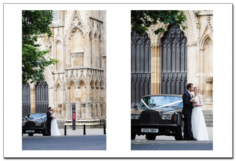 bride and groom - york minster