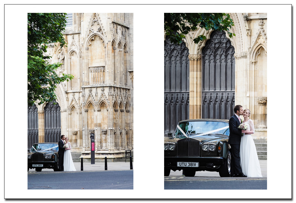 bride and groom - york minster
