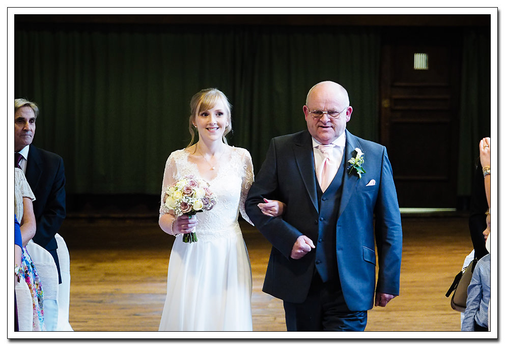 bride and father at the merchants hall wedding