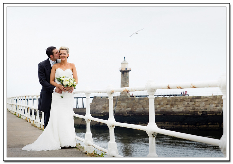 bride and groom portrait, whitby