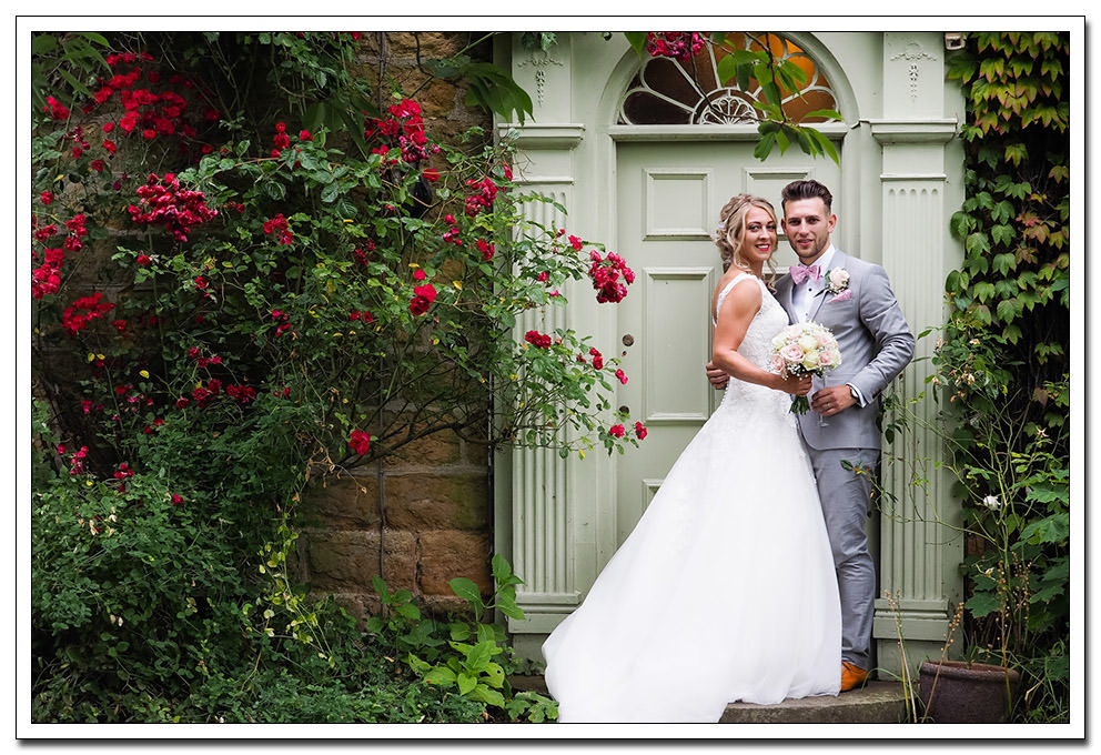 bride and groom portrait at oxpasture hall