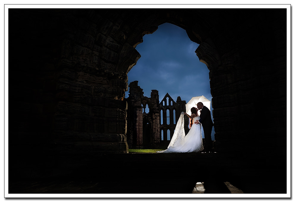 whitby abbey groom and bride portrait