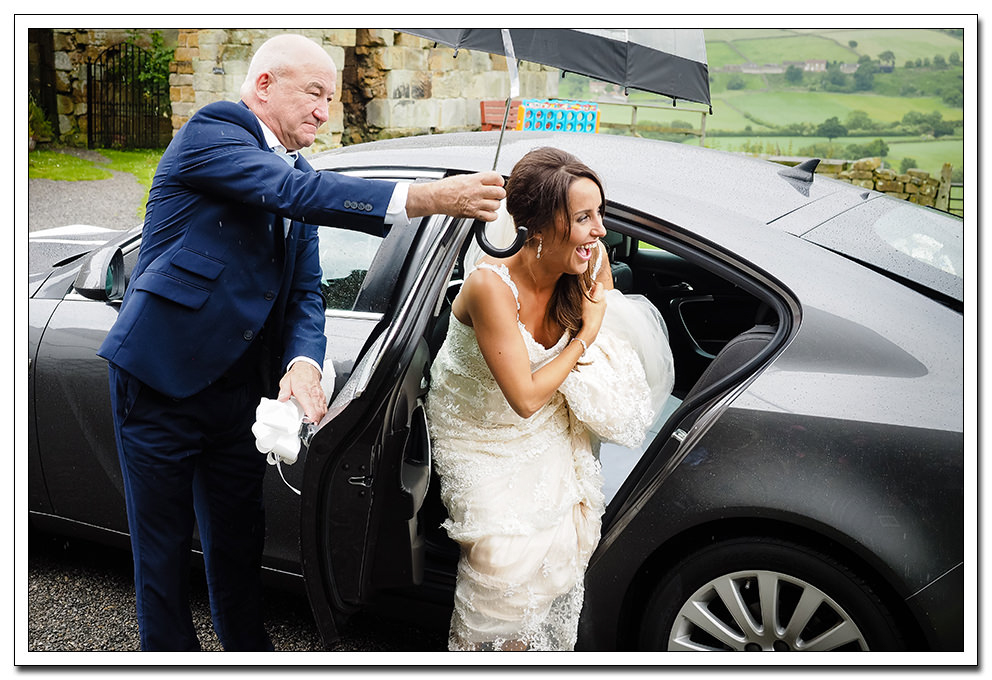 bride arrival at danby castle