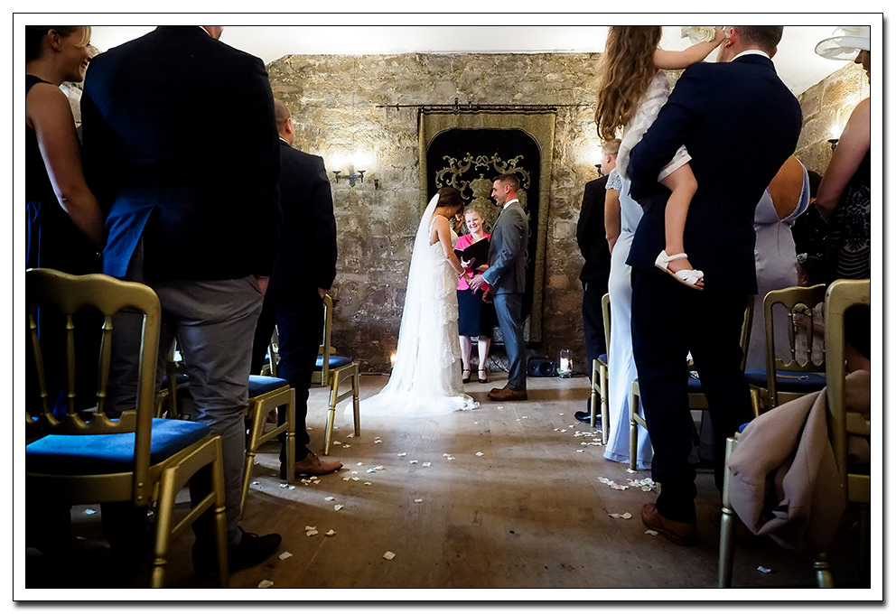 wedding ceremony at danby castle