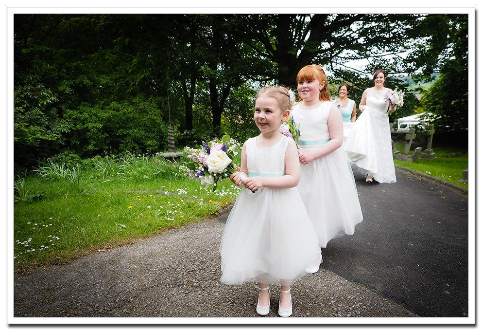bridesmaids and bride at the church