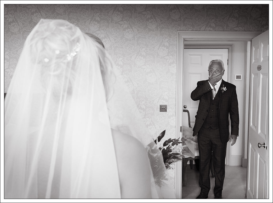 father of the bride seeing his daughter for the first time at hornington manor