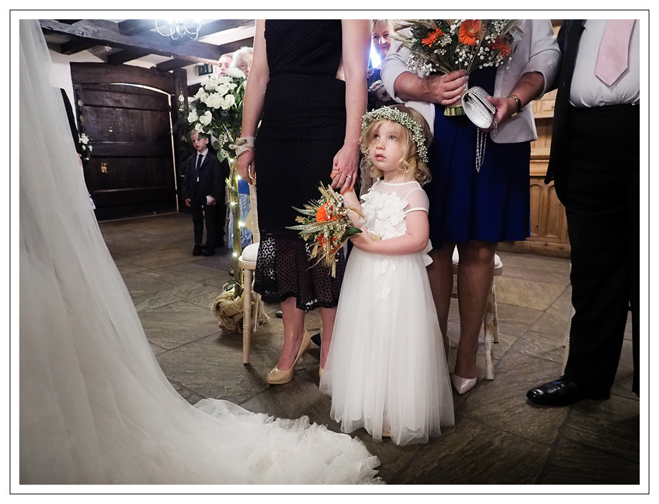 flowergirl during the wedding ceremony at crossbutts