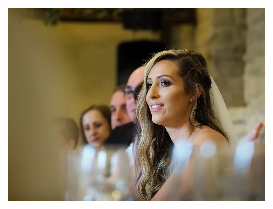 bride during the grooms speeches at crossbutts