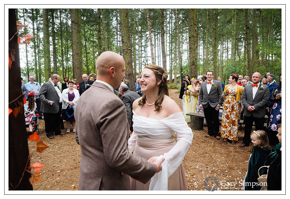 start of the woodland wedding ceremony at camp katur in north yorkshire