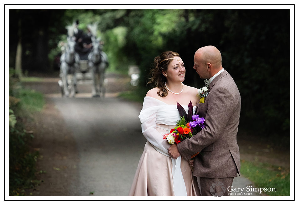camp katur wedding - bride and groom portrait in the woods of camp katur