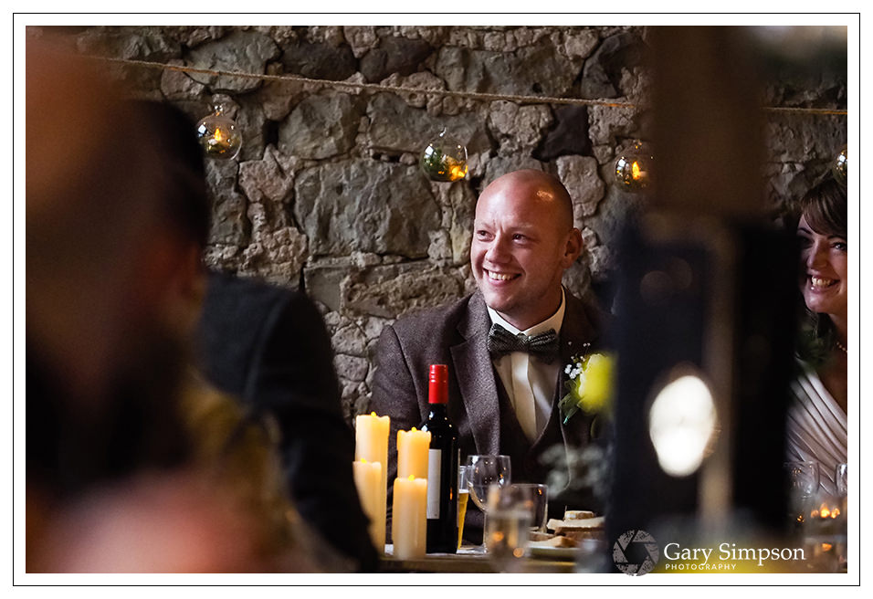 groom during the best mans speech at camp katur