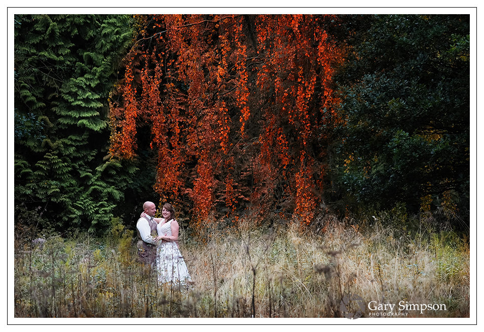 bride & groom portrait in the woods of camp katur in north yorkshire