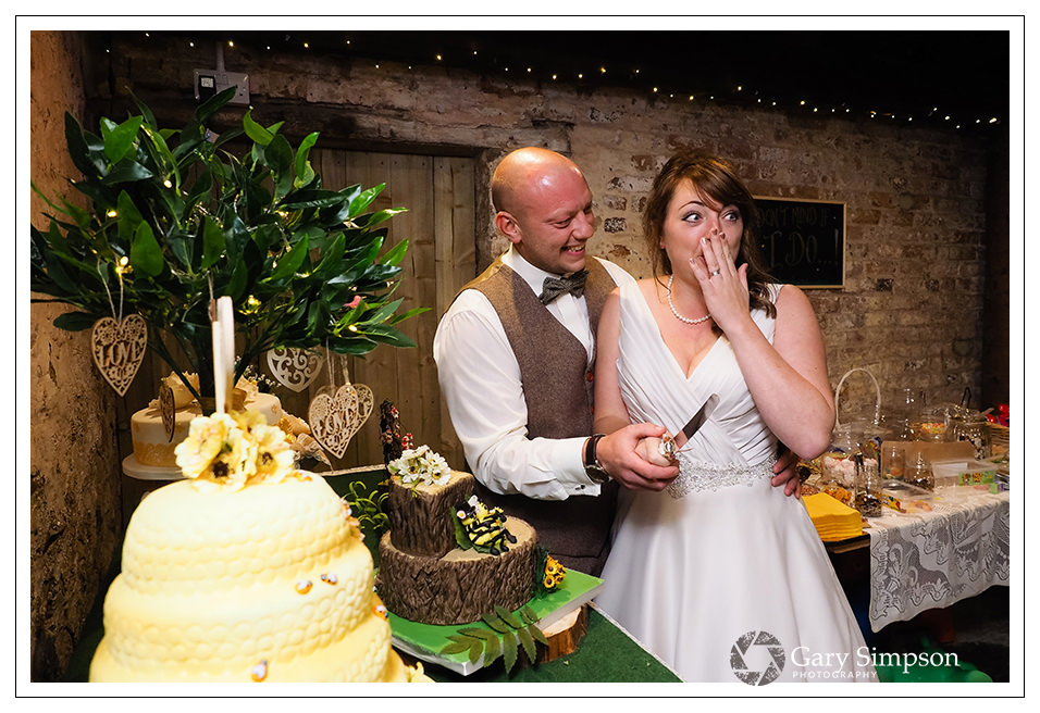 cutting of the cake - bride and groom