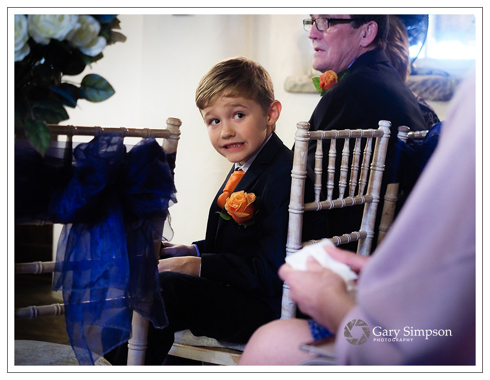 page boy during the wedding at crossbutts