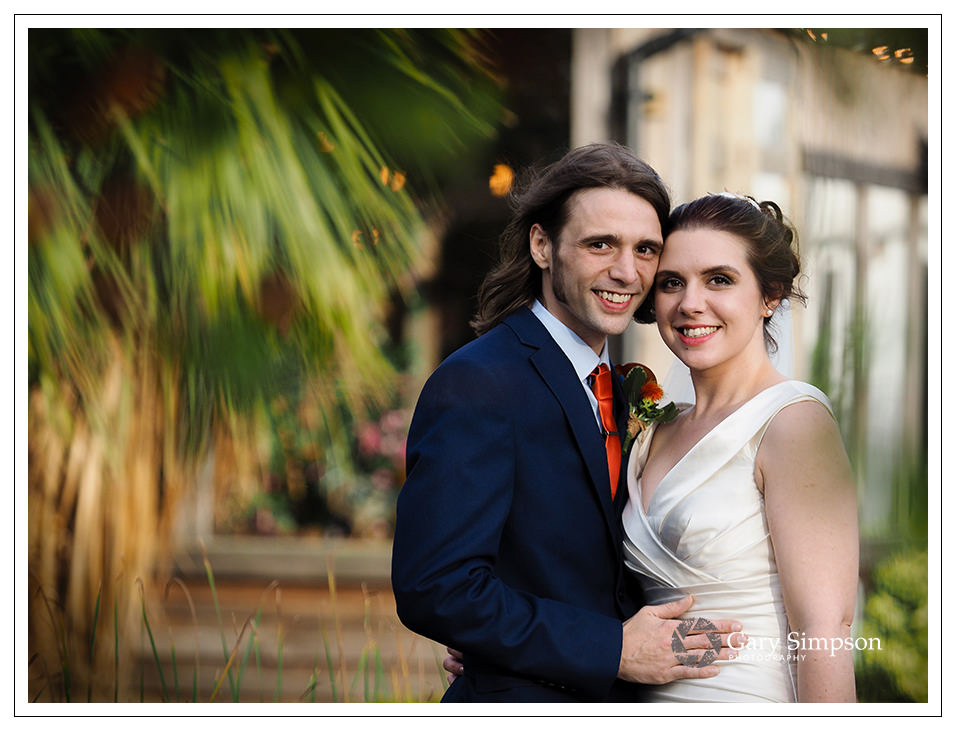 portrait of the bride & groom at crossbutts stables in whitby