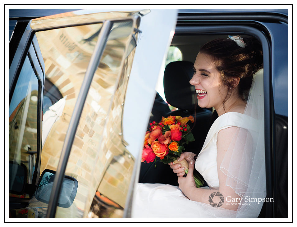 bride arrives at crossbutts for her wedding day