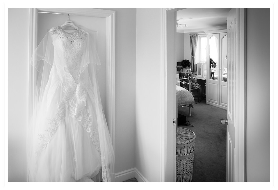 the brides dress and bride during the bridal preparation