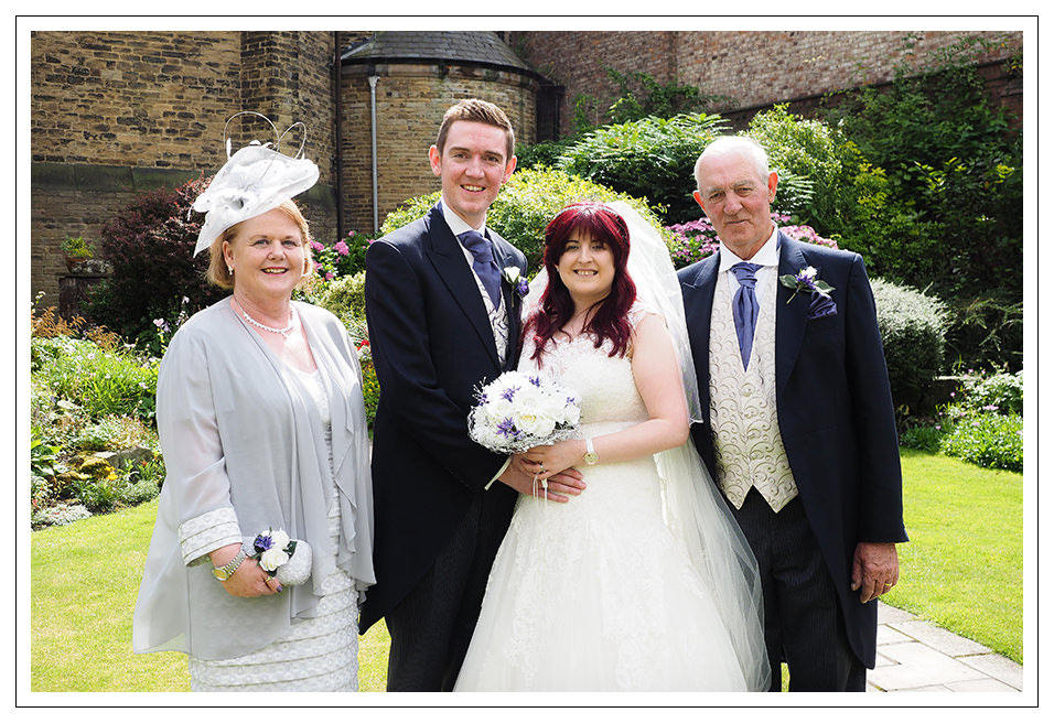 Bridal Party portraits in the garden of St Wilfred's church
