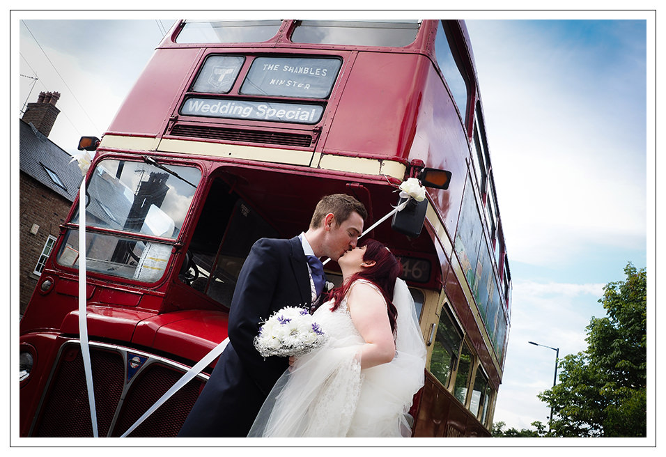 London bus and the newly married couple