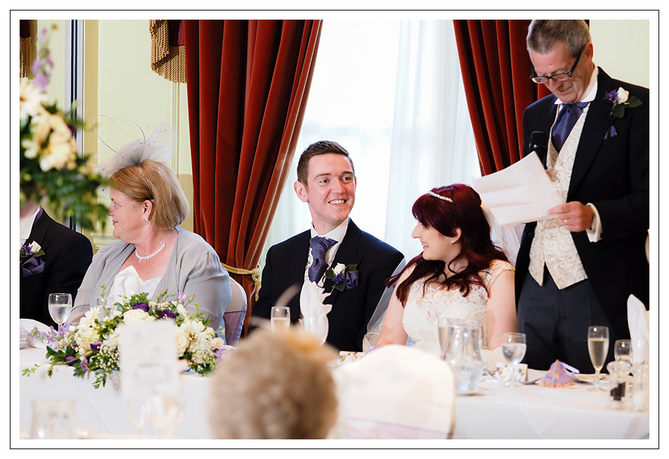groom during the father of the brides speech at York Pavilion hotel