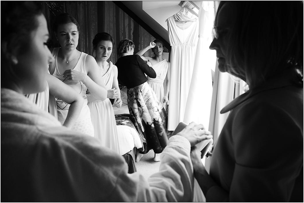 bridesmaids getting ready at raven hall