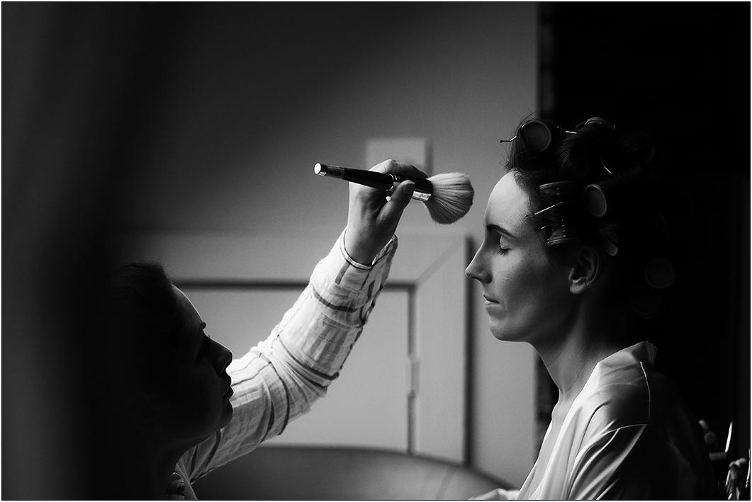 applying make up - bridal prep - gary simpson photography