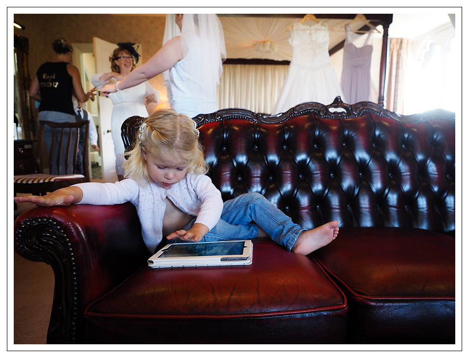 flowergirl on playing on the tablet