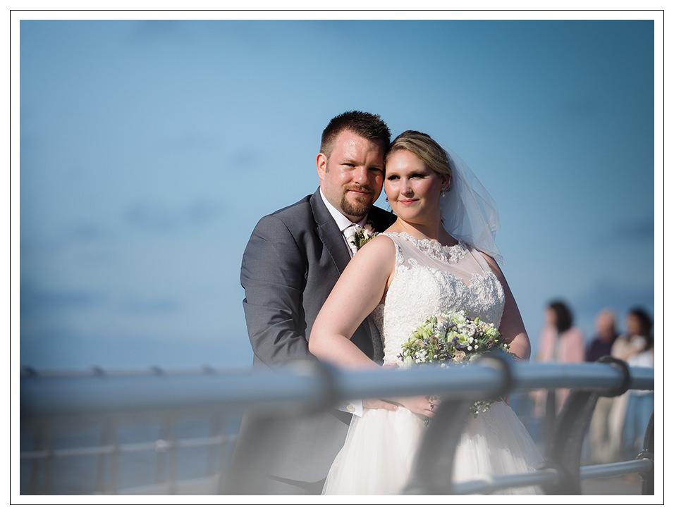 bride & groom portrait on saltburn pier