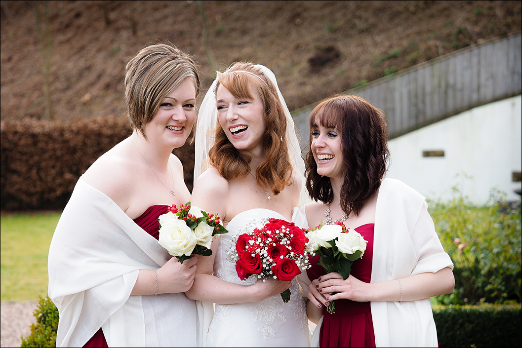 bride and bridesmaids at raithwaite hall