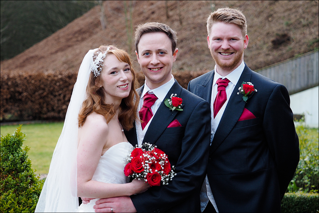 Bride & groom and best portrait at raithwaite hall, sandsend