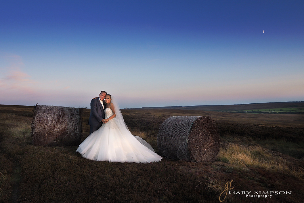 late evening shot of newly weds on the north yorkshire moors