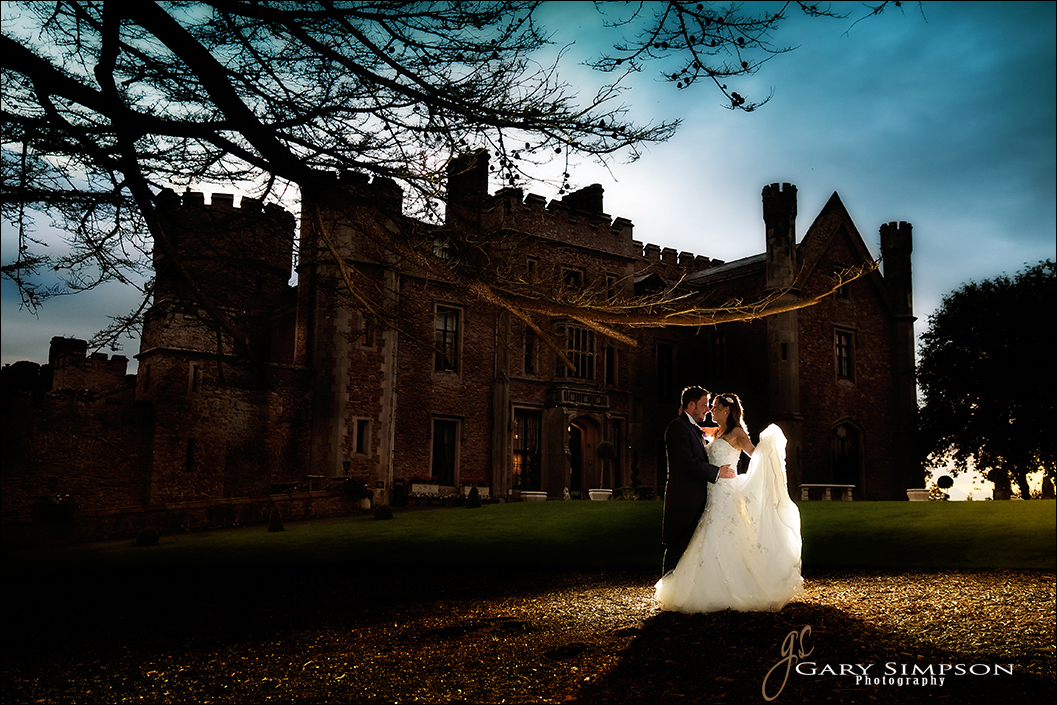 bride and groom in front of swinton park
