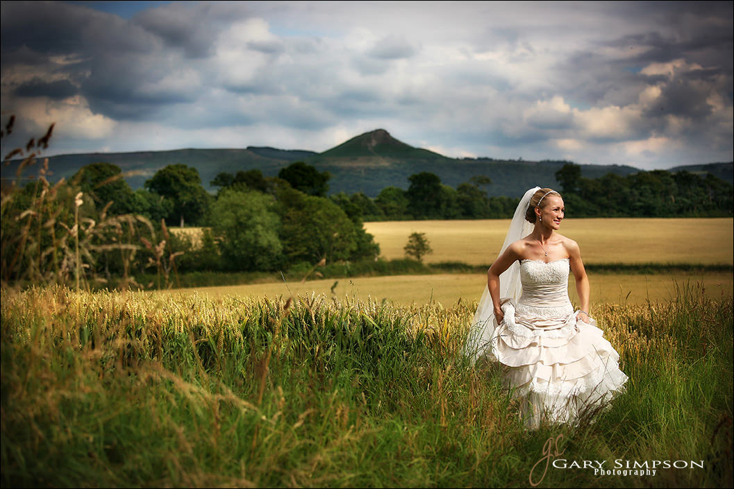 bride portrait with roseberry topping in the background