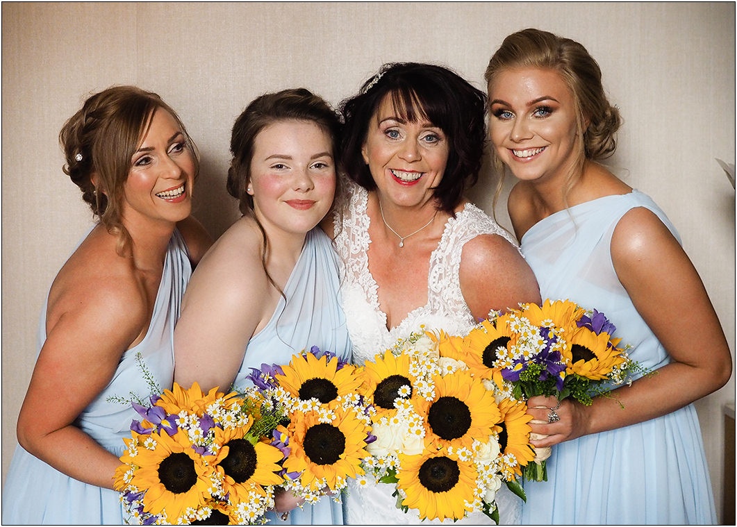 bride and bridesmaids at oulton hall