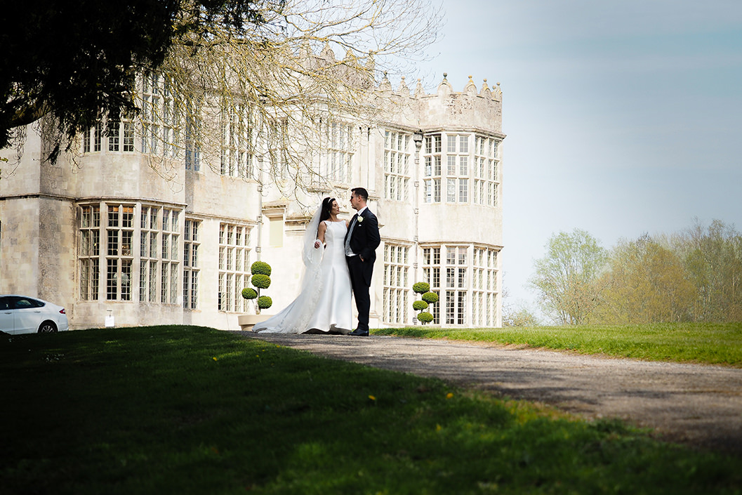 bride and grrom at howsham hall