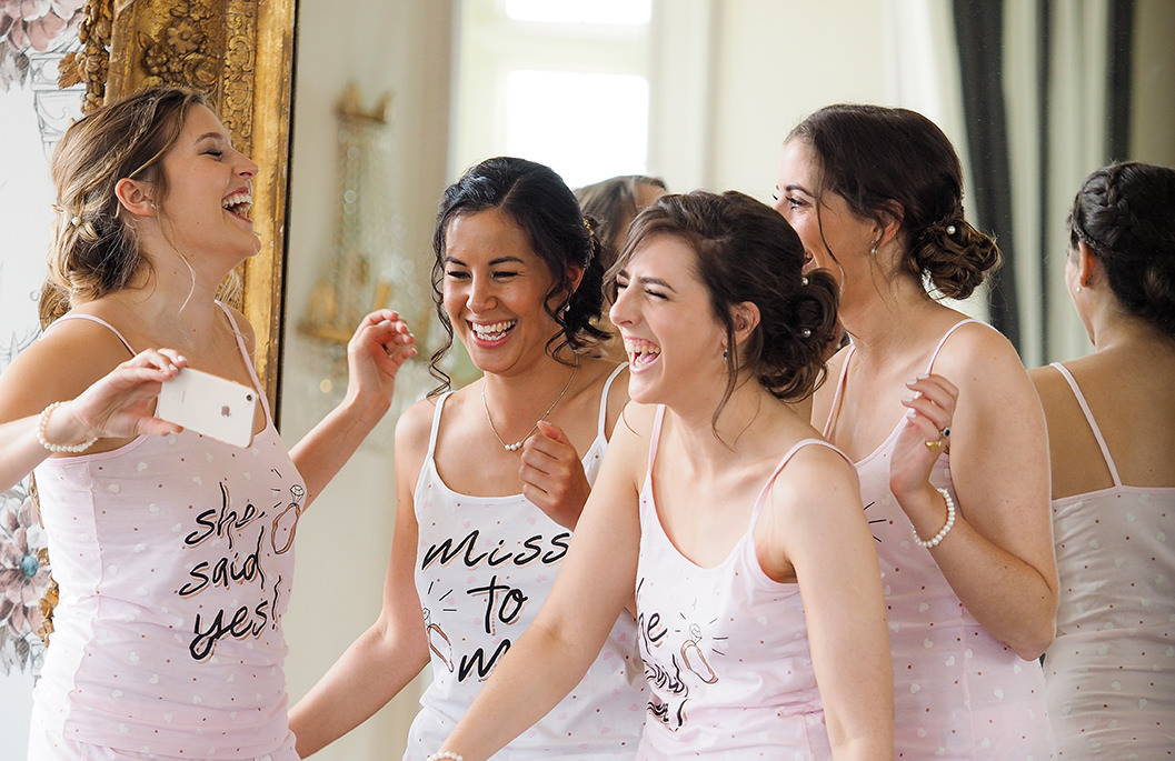bride & bridesmaids getting ready at howsham hall