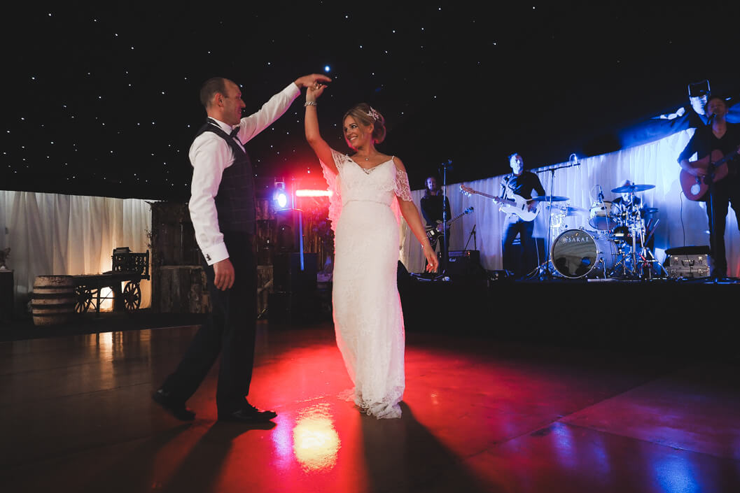 bride and grooms first dance at the stables in whitby