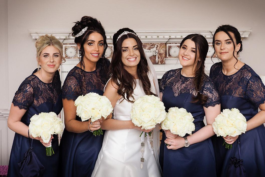 bride and bridesmaids at Howsham hall