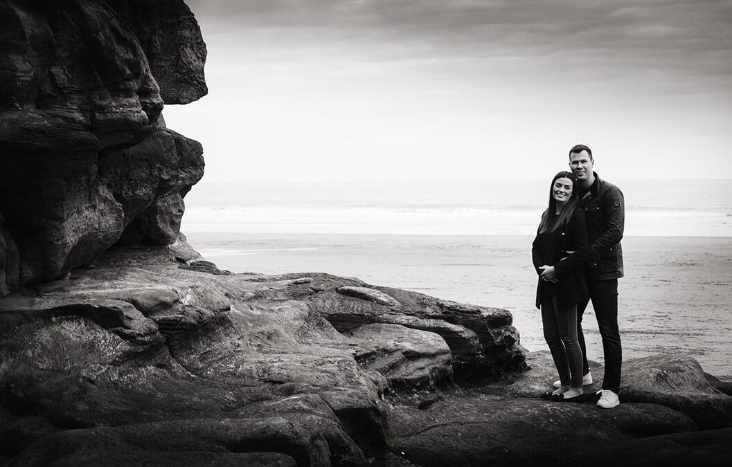 engagement portrait shoot on whitby beach