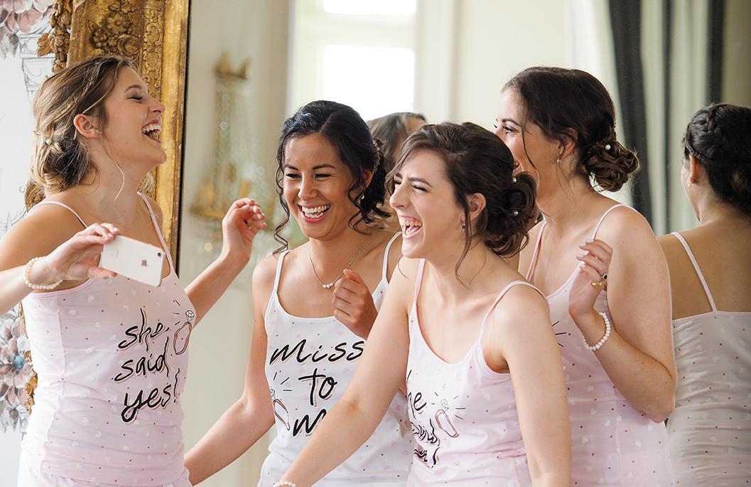 bride & bridesmaids getting ready at howsham hall