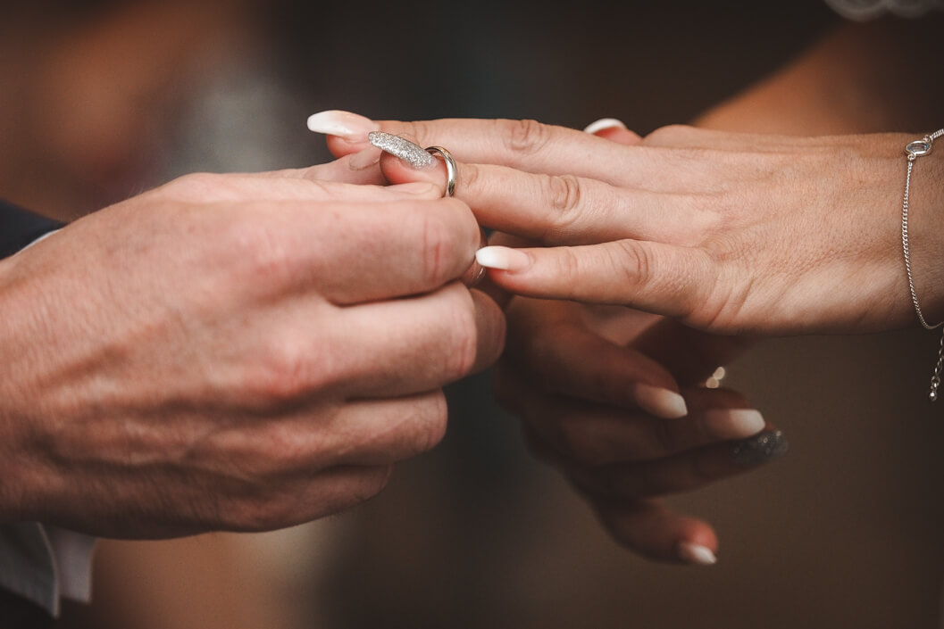 exchanging of the wedding rings at the stables whitby