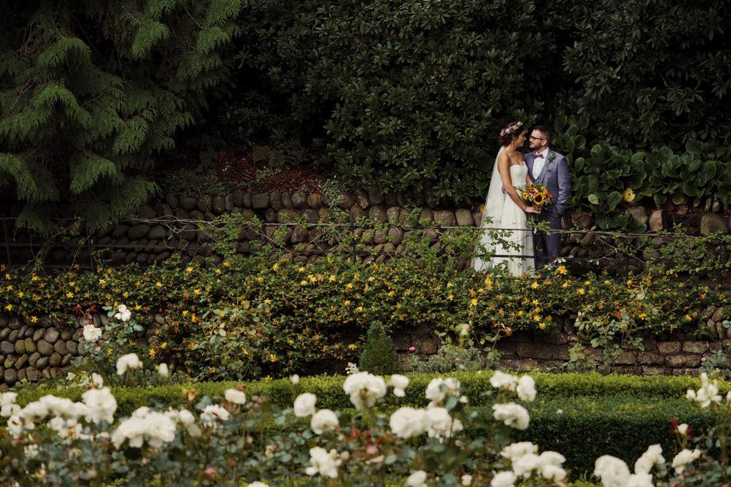 bride and groom portrait in the gardens of the raithwaite estate