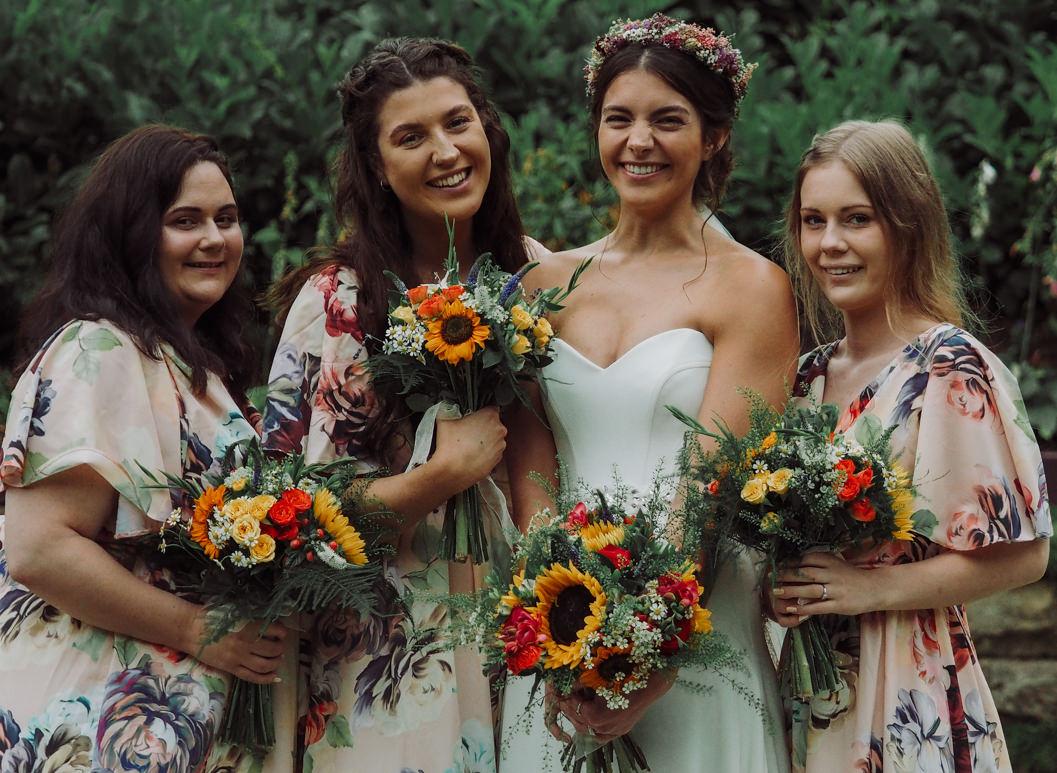 bride and her bridesmaids at raithwaite hall